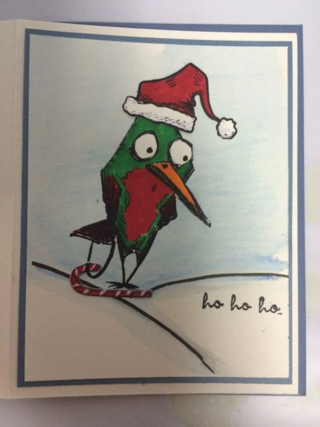 Card with bird skiing on candy cane