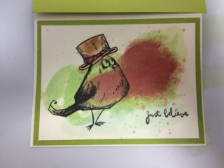 Card with Christmas Bird wearing hat