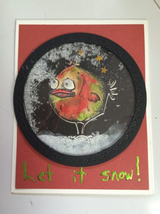 Card with bird in snow shaker box
